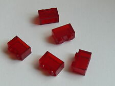 Lego 5 briques transp rouge 5893 9476 / 5 trans red brick Without bottom  tube