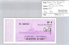 BILLET PORTE HELICOPTERES JEANNE D'ARC - BON POUR 10 FRANCS 1966 ROSE RARE!!!!!