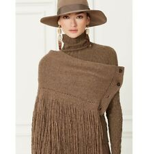 NWT Ralph Lauren Purple Label Womens Cashmere Fringed Scarf/ Poncho Brown, Italy