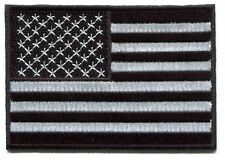 """AMERICAN FLAG black & white IRON-ON PATCH **FREE SHIPPING** -c p4441 u.s.a. 4"""""""