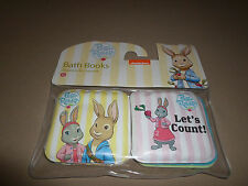 """Set Of 2 Pink/Yellow 3 1/2"""" X 3 1/2"""" Peter Rabbit Bath Books With Squeakers, NEW"""