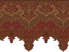 India Red / Gold Dahlia Paisley Super Sized Laser Cut Wallpaper Border GF071133D