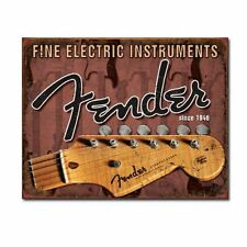 Fine Electric Instruments Fender Guitar Distressed Retro Vintage Metal Tin Sign
