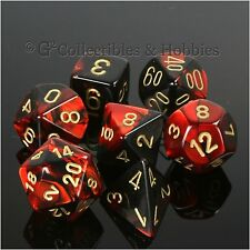 NEW 7pc Set Black Red Gemini RPG Game Dice D&D Chessex 7 Piece D20 D12 +