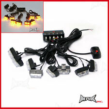Grill Mount LED Emergency Flashing Strobe Light Set Amber Orange Warning Safety