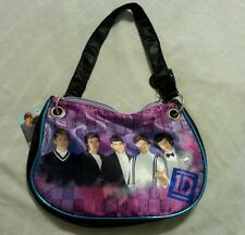 One Direction Girls Purse Tote Bag Handbag Black Purple 1D