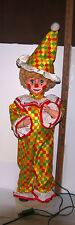 "Mechanical 31"" tall Clown in Wig, hat, makeup,shoe & clothes by electric MOVING"