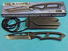"BudK BK430 TAC-WARRIOR Neck Knife black full tang Tanto blade  6 3/4"" overall"