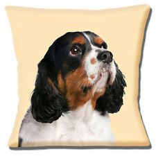 "NEW KING CHARLES SPANIEL TAN WHITE BLACK PHOTO PRINT 16"" Pillow Cushion Cover"
