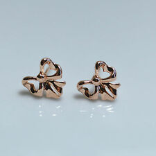 Shiny Polished 14K /14ct Rose Gold Plated Cute Small Bow Tie Stud Earrings