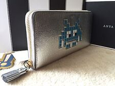 Anya Hindmarch - Large Zip Round Wallet Space Invader Blue in Silver Metallic