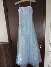 Light Blue Fancy Long Formal Dress Gown, Size 4/5/6, Lined, Sheer, Prom Dance EC