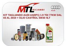 KIT TAGLIANDO AUDI A3(8P1) 1.9 TDI 77KW DAL 03 AL 2010 + OLIO CASTROL 5W30 4LT