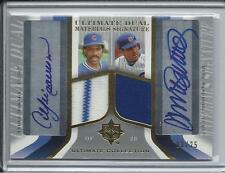 2004 ULTIMATE RYNE SANDBERG & ANDRE DAWSON DUAL JERSEY & AUTO #D/25 CUBS
