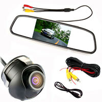 4.3'' Auto Car TFT LCD Monitor Mirror +Reversing Rear View Backup Parking Camera