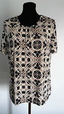 Jaclyn Smith Womens Blouse Size Large Brown Black White Short sleeve top