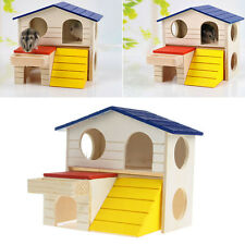 Wooden Bed House Cage Dual Layer Villa For Pet Rat Mouse Dwarf Hamster Animal
