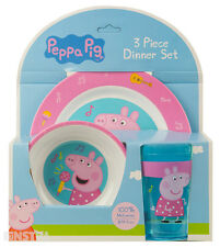 Peppa Pig Dinner Mealtime Set Kids Girls Boys Pepper Pig Toy Plate Bowl Cup New