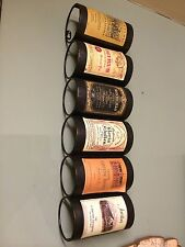 Vintage Hanging Label 6 Wine Bottle Rack Holder Home Decor Bar Office
