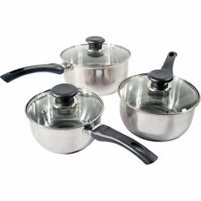 3PC STAINLESS STEEL COOKWARE SAUCEPAN PAN POT SET KITCHEN MILK COOK HIGH QUALITY