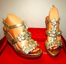 "NWT NUTURE CAMILLE SAND GOLD OPEN TOE 4"" WEDGE HEELS SIZE 8.5 11 LEATHER FLOWERS"