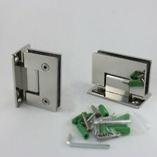 pair glass shower door hinge chrome polished wall to glass frameless 3/8""