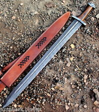 Damascus Knife Custom Handmade  - 32.00 Inches Rose Wood Handle Viking Sword