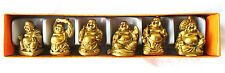 "Set of 6 Mini Gold Feng Shui Laughing HAPPY Buddha Figures & Statue 1"" Tall"