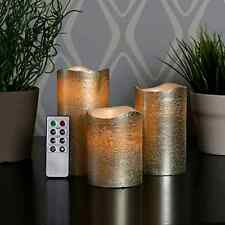 Set of 3 Gold Wax Metallic Flameless Battery Champagne Candles Remote Included