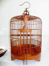 "Vintage Chinese Bamboo Wood Wooden Birdcage Bird Cage Large 27"" Asian Handmade"