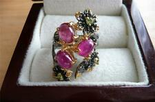 OVAL CABOCHON RED RUBY & PERIDOT 925 STERLING SILVER FLOWER RING SZ M 6.5