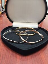WOMENS 14K ROSE GOLD YELLOW GOLD & STS CUFF BANGLE BRACELET SET OF 3 SZ 7 INCH