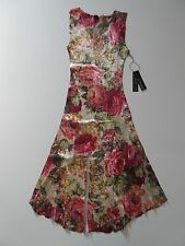 NWT KOMAROV Fall Rose Floral Lace Trimmed Crinkle Sleeveless V-Neck Dress M $278