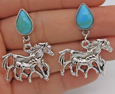 "1.57"" Punk Double Runing Horses Steed Women Earrings Studs Retro Silver Tone New"