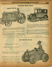 1926 PAPER AD 2 Sided Arcade Iron Toys Andy Gump Fordson Tractor Yellow Cab Mack