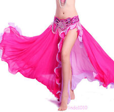 New Belly Dance Costume 2 layers with one slit Skirt 9 colors