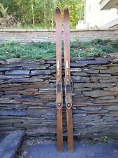 """ANTIQUE Wooden 77"""" Skis with Cable  Bindings + BLOND Finish Signed NORTHLAND"""