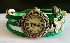 VINTAGE  BRACELET LEATHER WOMEN WRIST WATCH -GREEN - FREE SPARE BATTERY