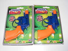 2 x SURE SHOT SMALL BLUE & ORANGE PLASTIC 8 SHOT TOY CAP GUN / GUNS / PISTOLS