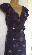 Stunning Monsoon Navy Floral Print Frill Trim 50s Tea Size 16 Party Dress Look