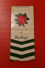 "RARE VINTAGE 1930-60's ""DUNLAVY'S"" * ADVERTISING MATCH BOOK COVER"