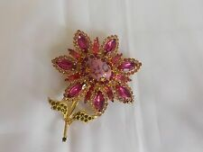 Rare Vintage Weiss Hot Pink/Pink/Green Rhinestone Flower Pin Brooch Excellent