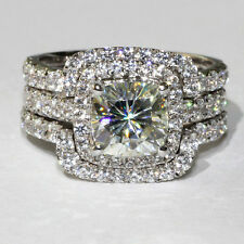 3 CT Simulated  Engagement bridal Ring pt950 CERTIFIED set 3 sona nscd diamond