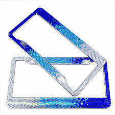 Gradient Blue Handmade Bling Rhinestones Stainless Steel Car License Plate Frame