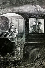 W.A. Rogers RUNNING a LOCOMOTIVE TRAIN 1890 Engraving Art Print Matted