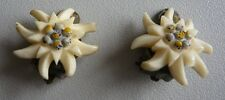 Vintage Swiss Edelweiss White Flower Earrings Clip On