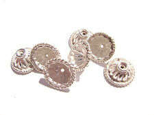 1078BB Bead Cap, Silver ptd copper, 12mm for 10 to 12mm bead, Flower, 16 Qty