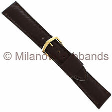19mm Name Brand Brown Norwegian Calf Stitched Flat Mens Short Watch Band