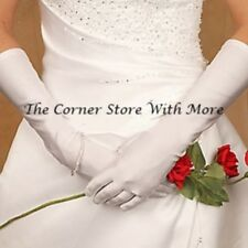 Ladies Long White Gloves Elegant Satin Shine for Deb Wedding Formal Debutante