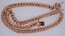 Miami Cuban Link Chain Necklace 10K Solid Rose Gold 12 MM 175 Grams gold 24""